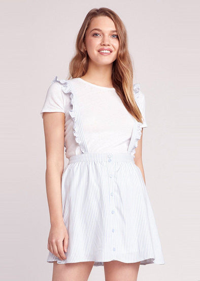 Ruffle Time Overall Skirt - Light Blue