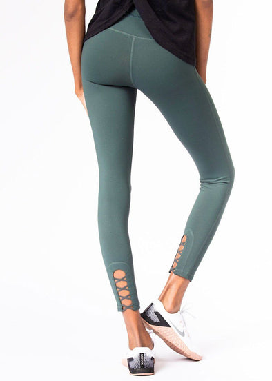 Criss-Cross Cut Out Full Leggings - Green