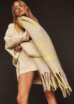 Prep Brushed Plaid Blanket Scarf - Sand Combo