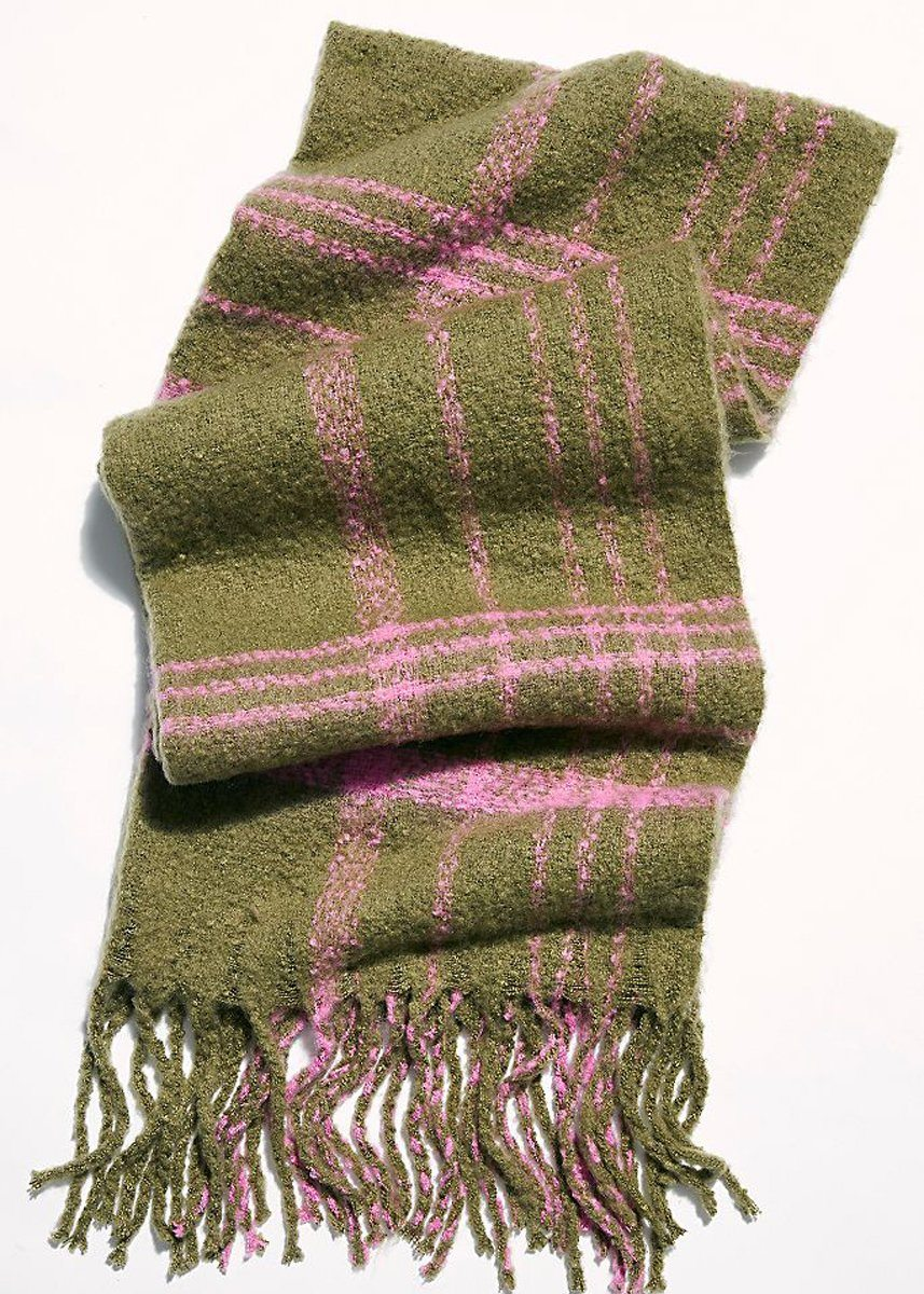 Prep Brushed Plaid Scarf - Olive Combo