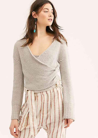 Sensual Wrap Sweater - Grey