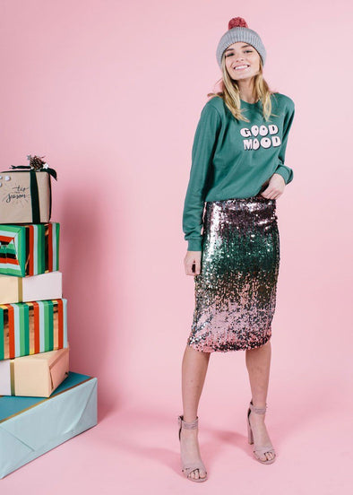 Sequin Color-Tiered Midi Skirt