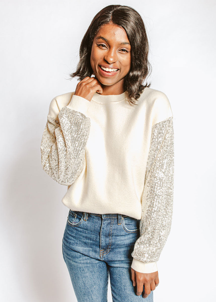 Sequin Cream Sweater
