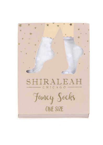 Sheer Fancy Dot Socks - White