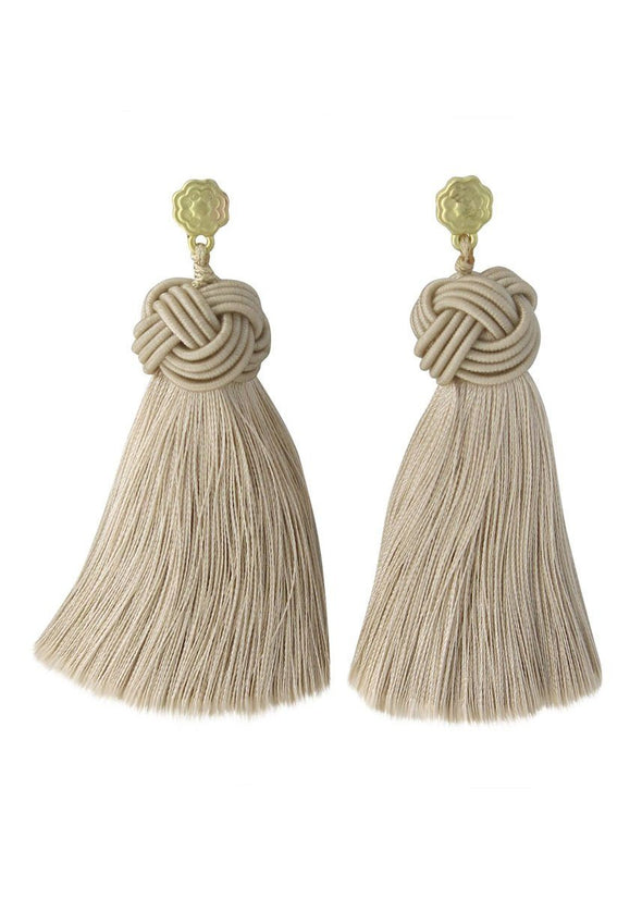 Topknot Tassel Earrings - Shroom