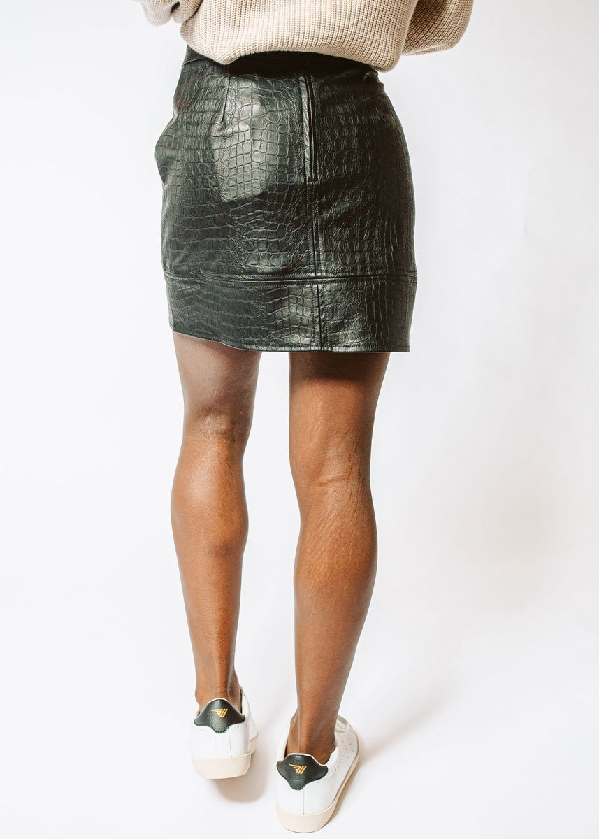 Croc Embossed Vegan Leather Skirt