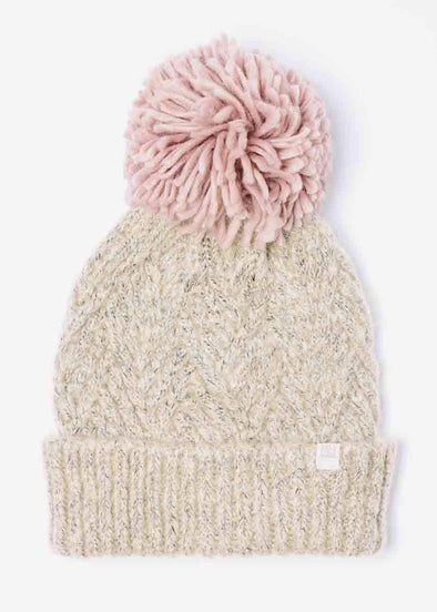 Mad Hatter Diamond Weave Beanie - Blush Pom