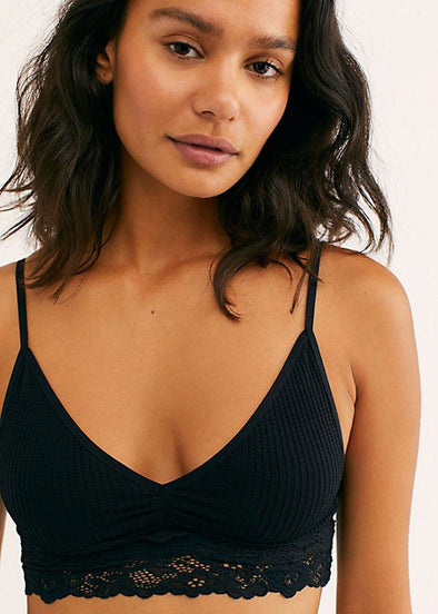 Stevie Lace Trim Bralette - Black