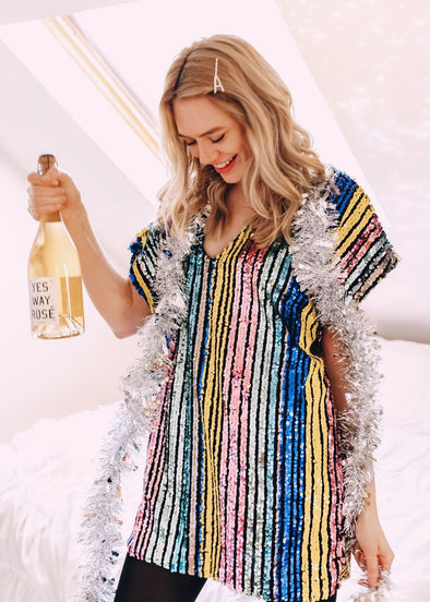 V Neck Multi Striped Sequin Dress