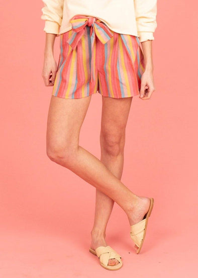 Moon River Rainbow Stripe Shorts