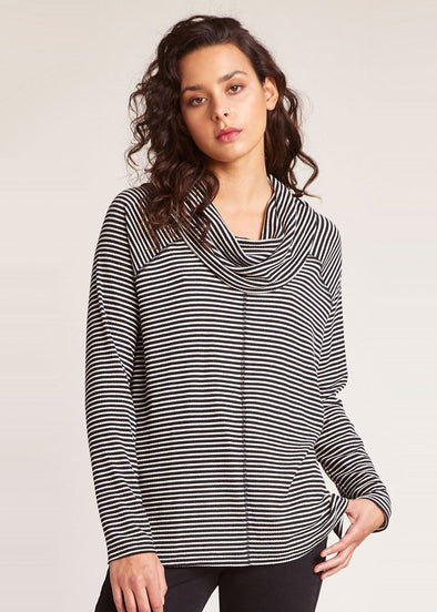 Stripe A Cowl Neck - Black