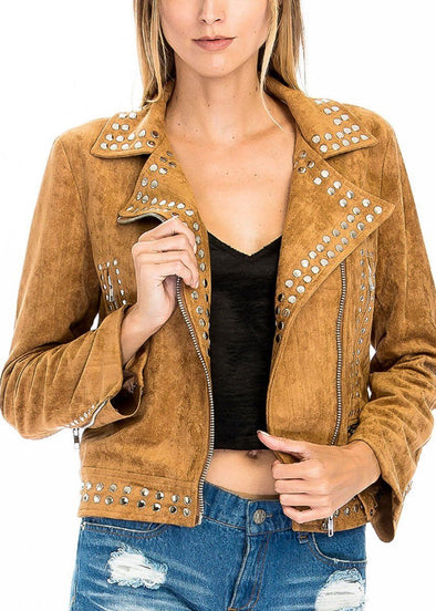 Hey Stud, Faux Suede Jacket - Camel