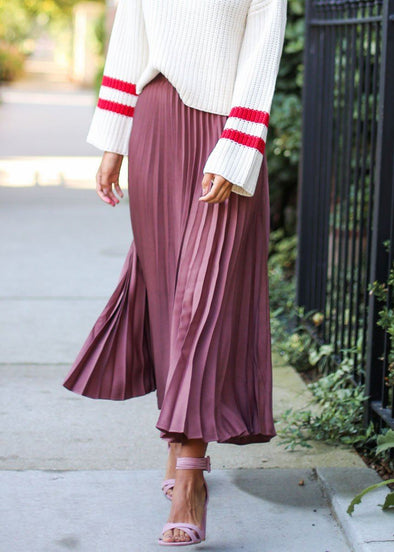 Talia Pleated Midi Skirt - Mauve