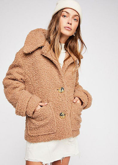 So Soft Cozy Peacoat - Brown