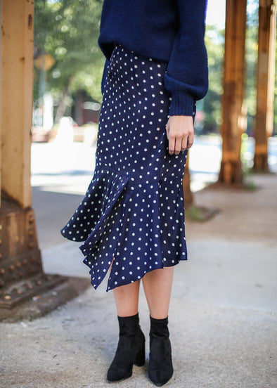 Tess Polka Dot Asymetrical Midi Skirt