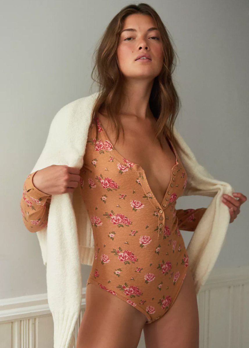 Dylan Thermal Printed Bodysuit - Tan Combo
