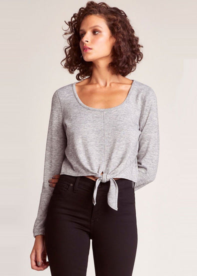 Knot & Bothered Tie Front Top - Grey