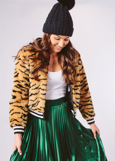 Tiger Beat Faux Fur Bomber Jacket