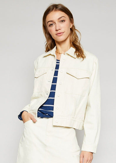 Veda Wash Twill Jacket - Cream