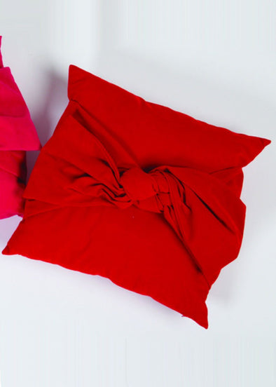 Velvet Bow Pillow - Red
