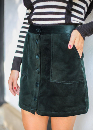 Edmone Velvet Button Skirt