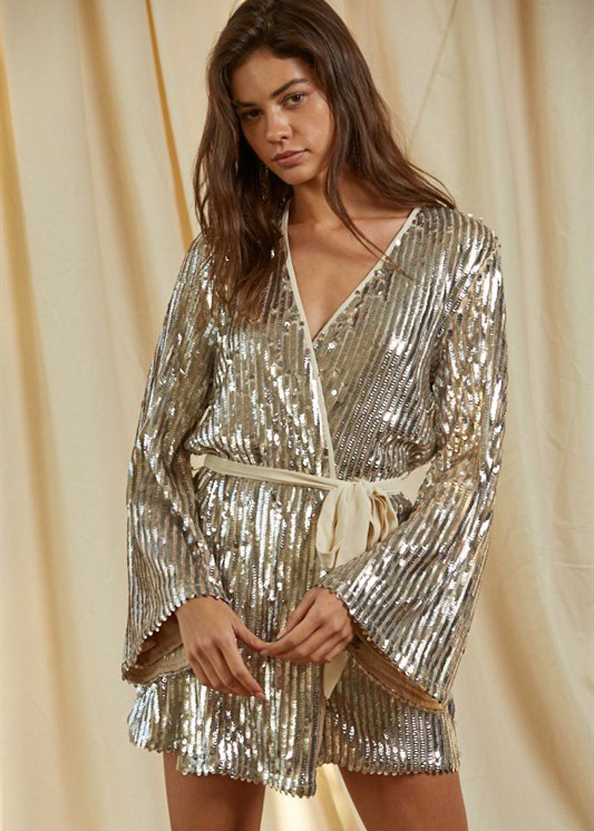 Viktoria Sequin Wrap Dress