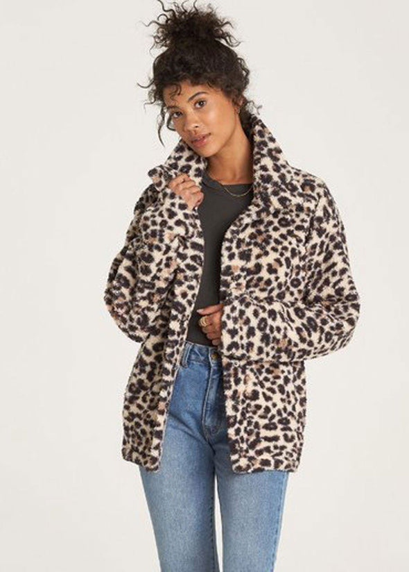 Cozy Days Sherpa Jacket - Leopard