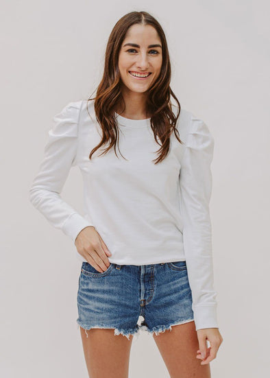 Puff-Sleeve Sweatshirt - White