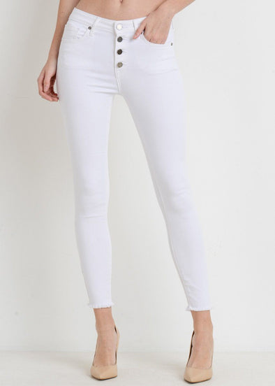 Button Down Skinny - White