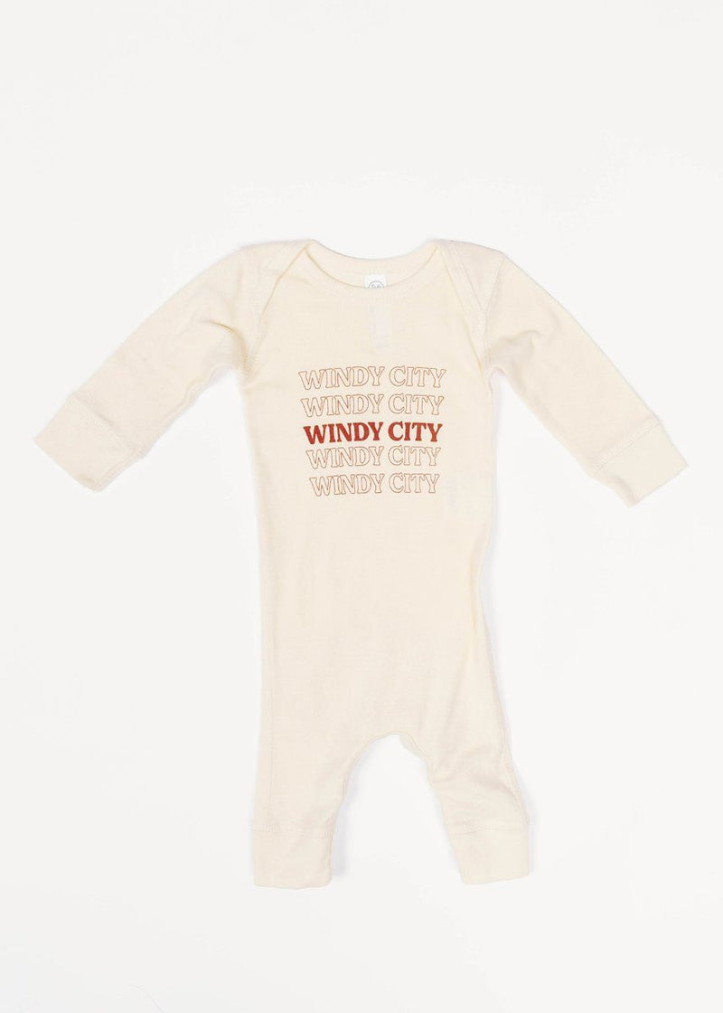 Windy City Vintage Bag Long Sleeve Romper