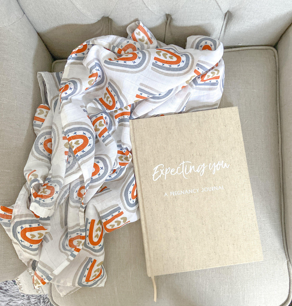 Cotton Muslin Baby Swaddle + Pregnancy Journal Bundle