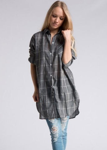Gray Plaid Oversize Button Down Shirt