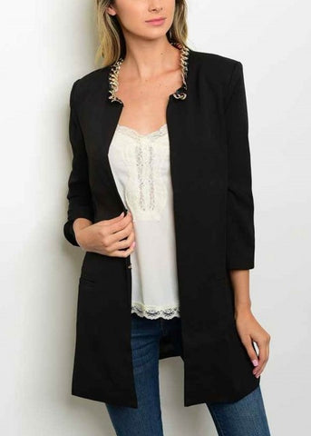 Black Chain Collar Long Jacket