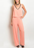 Coral V-Neck Jumpsuit