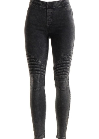 Washed Moto Denim Stretch Leggings