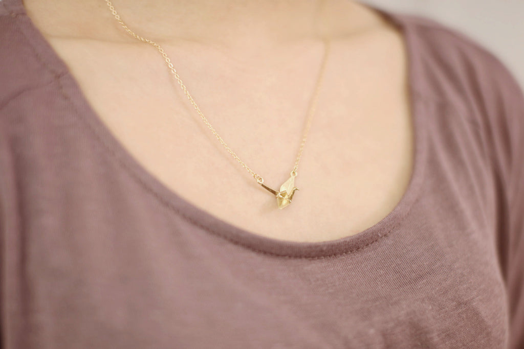 Origami Crane Pendant Necklace