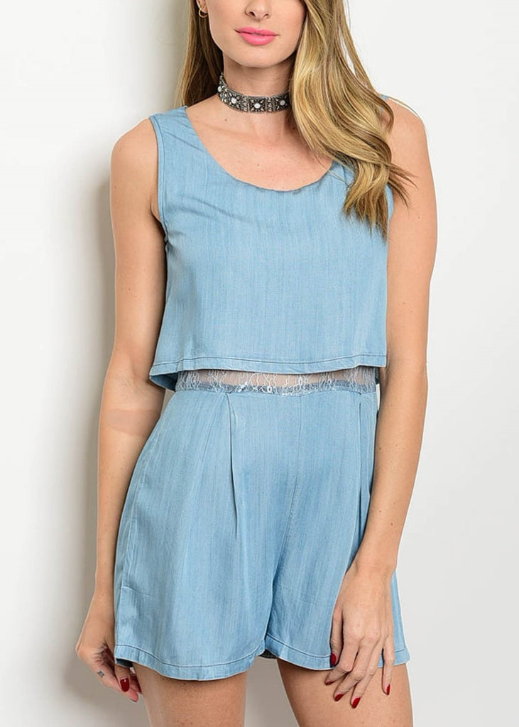 Chambray Lace Romper