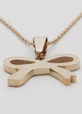 Bowknot Ribbon Stainless Steel Pendant Necklace
