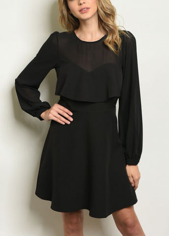 Black Sweetheart Sleeved Dress