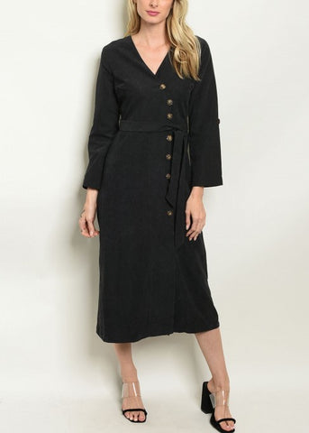 Black Long Sleeve Button Down Midi Dress