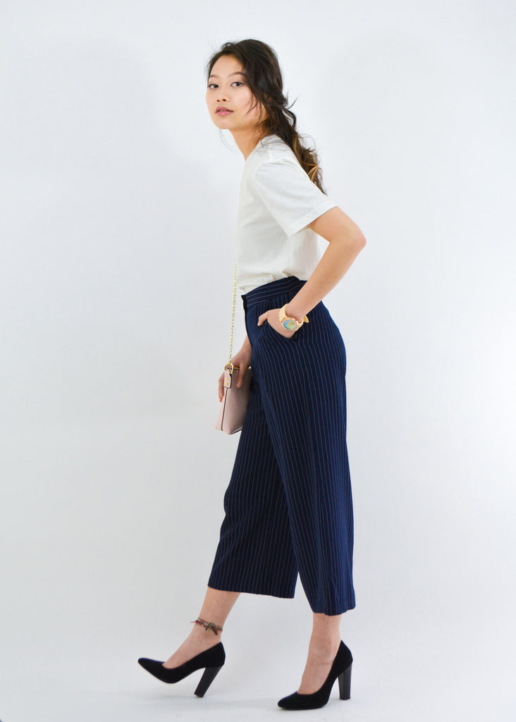 Wide Leg Navy Stripe Ankle Pant