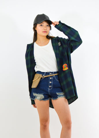 Oversize Plaid Patch Top