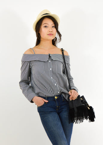 Off-Shoulder Striped Tunic