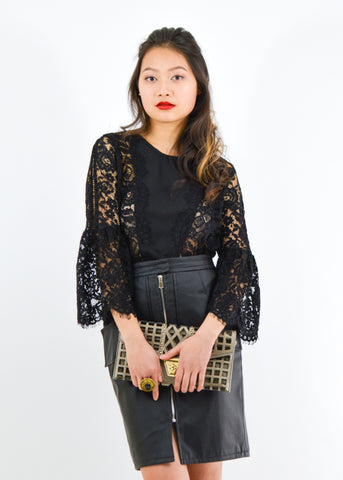 Lace Bell Sleeve Crop Blouse