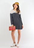 Lace Shoulder Striped Shift Dress