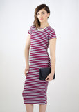 Maroon Striped Midi Dress