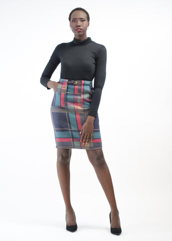 Belted Plaid Wool Skirt