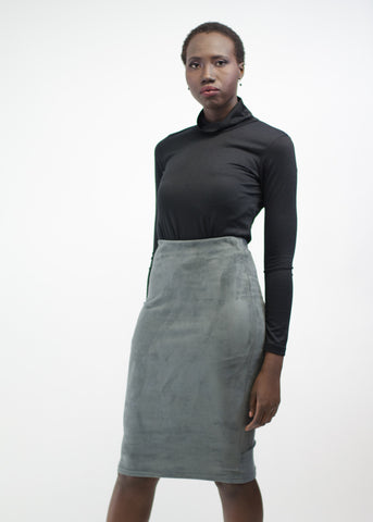 Faux Suede Stretch Midi Skirt