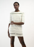 Ivory Silver Textured Shift Dress