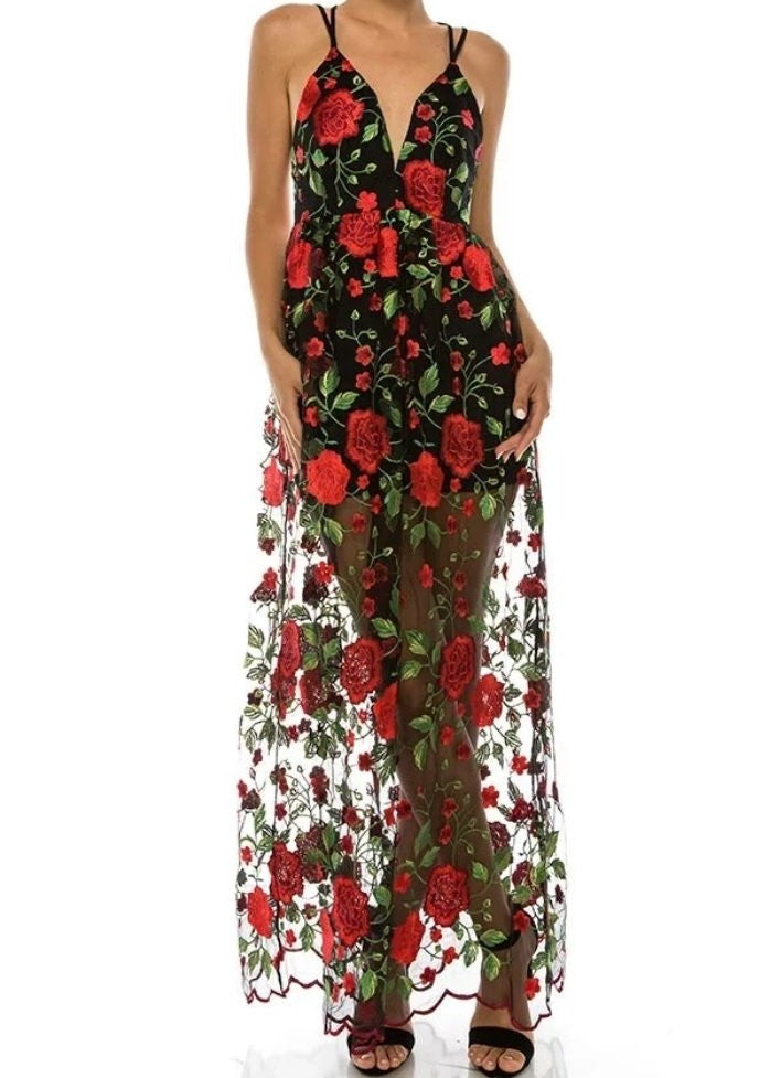 Embroidered Rose Maxi